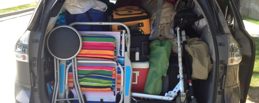 a car boot full of equipent