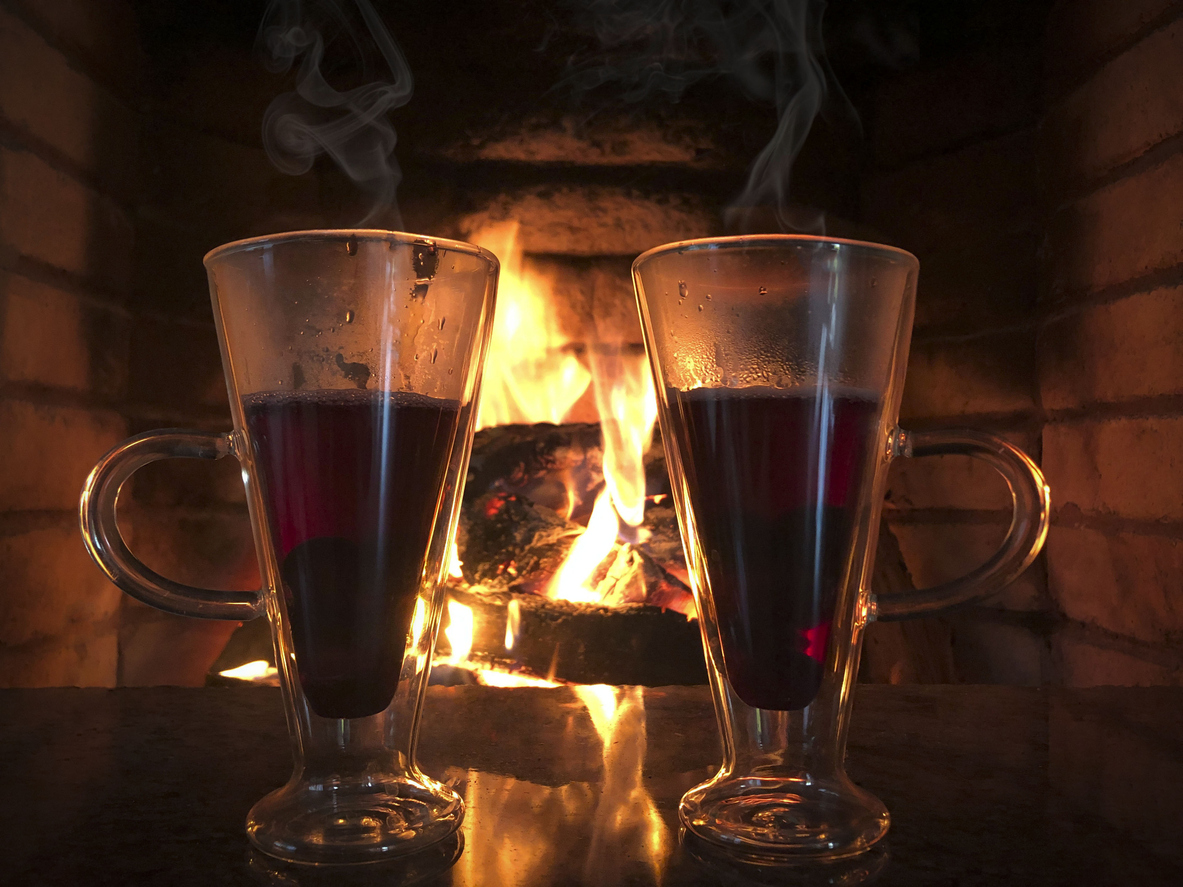 hot drinks infront of fire